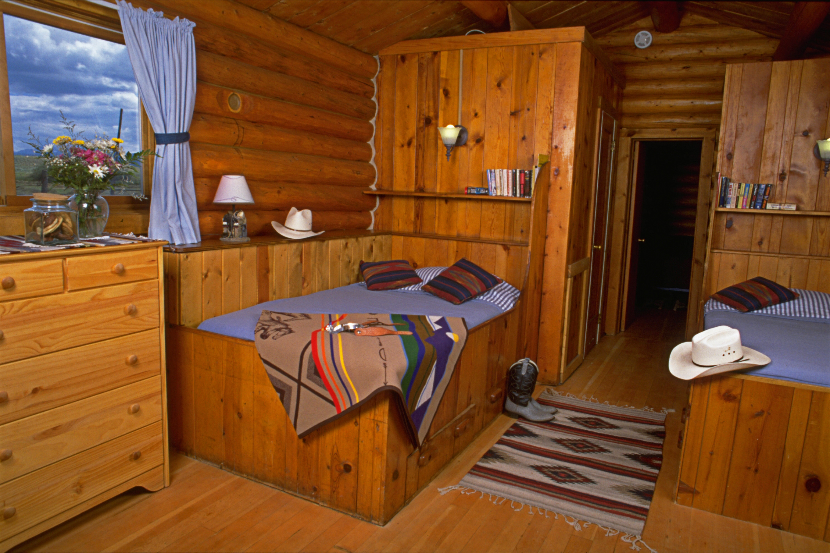 Comfortable lodge and cabin accommodations.